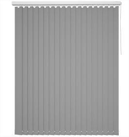 A grey vertical blind in a kitchen window