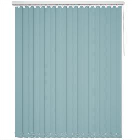 A blue vertical blind in a bathroom window