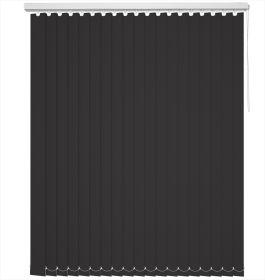 A black vertical blind in a bathroom
