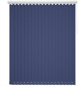 A rich blue coloured vertical blind in a bathroom