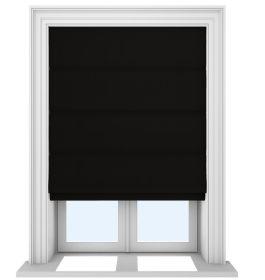 Our Prestige Silk Midnight Roman blind in a bedroom window