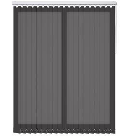 A black coloured vertical blind in a bathroom