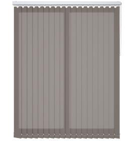 A brown vertical blind in a bathroom